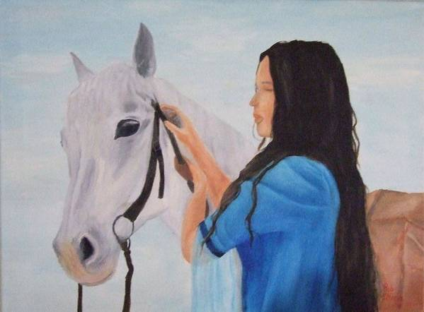 Animals Art Print featuring the painting Horselady by Robert Silvera