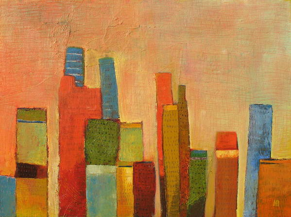 Abstract Cityscape Art Print featuring the painting Hot Manhattan by Habib Ayat
