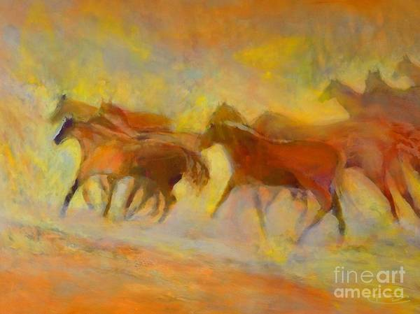Horses Art Print featuring the painting Hot Things by Kip Decker