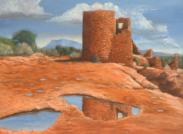 Anasazi Art Print featuring the painting Hovenweep Reflection by Jerry McElroy