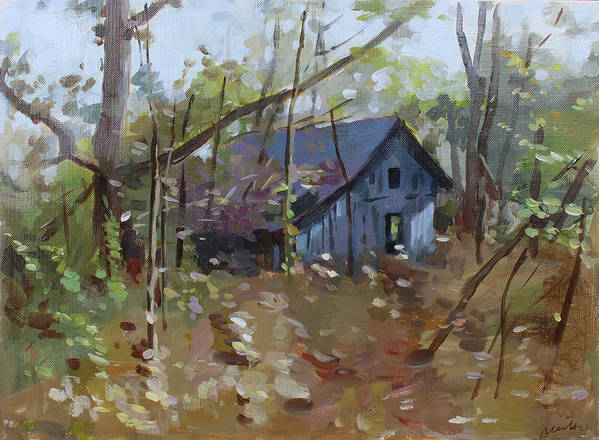 Hut Art Print featuring the painting Hut In Woods by Mei He