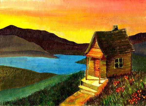 Acrylic Painting Art Print featuring the painting Hut On Lake by Jennifer McDuffie