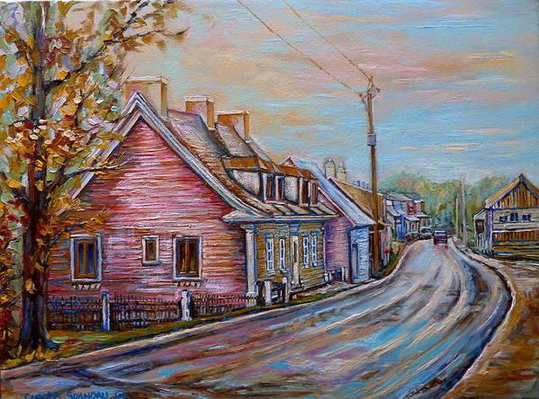 Ile D'orleans Art Print featuring the painting Iles D'orleans Quebec Village Scene by Carole Spandau