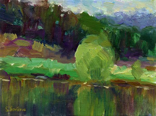 Oil Art Print featuring the painting Impressionistic Oil Landscape Lake Painting by Svetlana Novikova