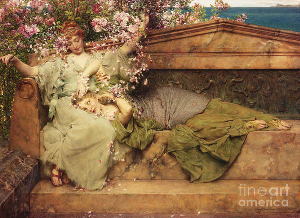 Rose Art Print featuring the painting In A Rose Garden by Sir Lawrence Alma-Tadema