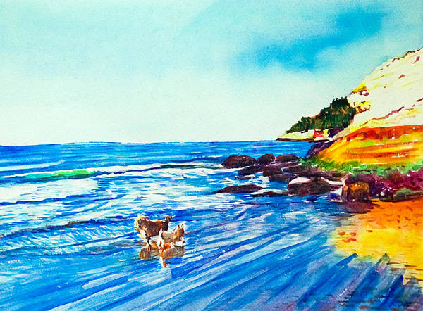 Seascape Art Print featuring the painting In Paradise Of Dogs by Aymeric NOA