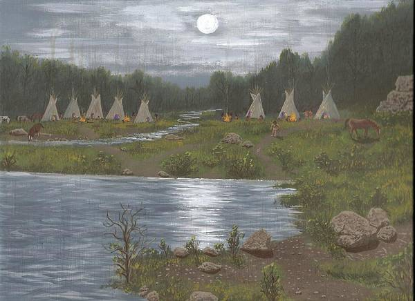 Indians Art Print featuring the painting Indian Camp by Don Lindemann