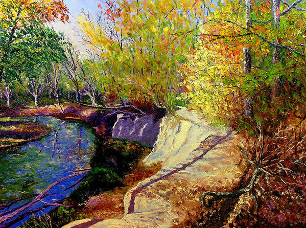 Fall Art Print featuring the painting Indiana Creek Bank by Stan Hamilton
