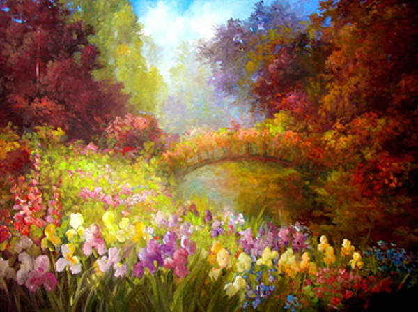 Floral Art Print featuring the painting Iris-- Covered Bridge by Gail Salitui