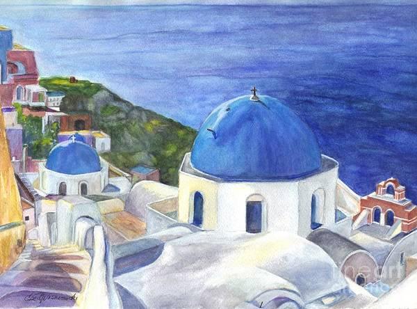 Oai Art Print featuring the painting Isle Of Santorini Thiara In Greece by Carol Wisniewski