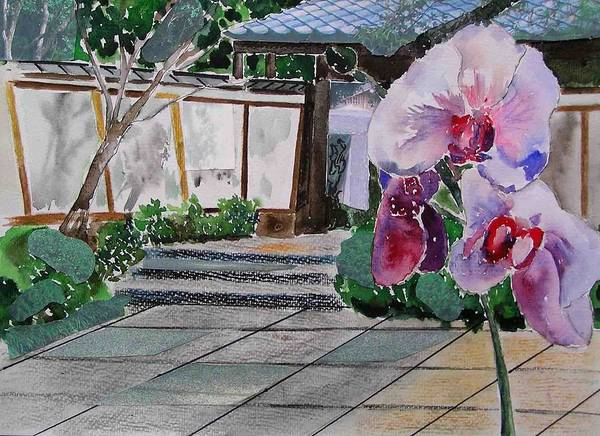 Garden Art Print featuring the painting Japanese Garden by Evguenia Men