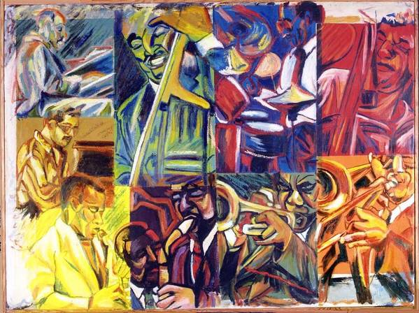 Jazz Art Print featuring the painting Jazz Squares by Ellen Lefrak