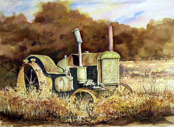 Tractor Art Print featuring the painting Johnny Popper by Sam Sidders