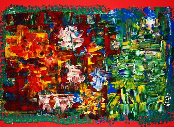Abstract-intense-power Colors-modern Art. Art Print featuring the painting ..journey From Red To Green.. by Adolfo hector Penas alvarado