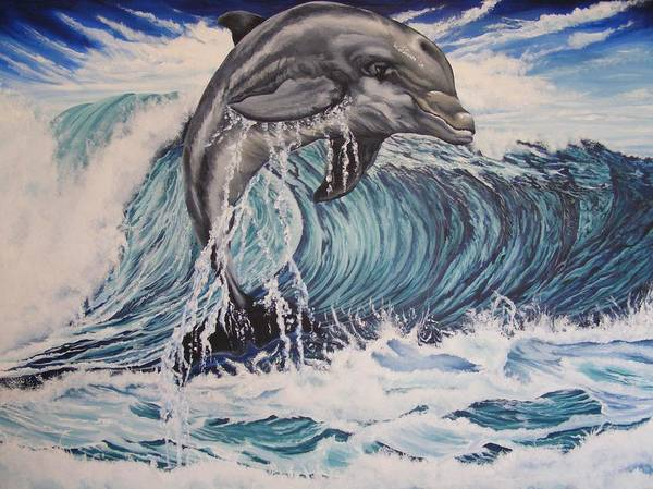 Dolphin Art Print featuring the painting Joy by Donald Dean
