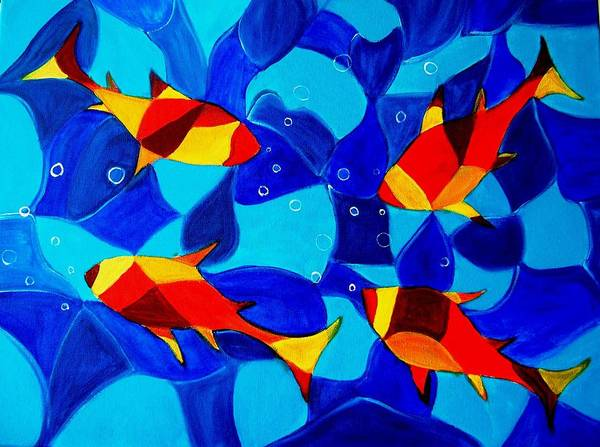 Abstract.acrylic.fish.bubbles.art.painting.modern.contemporary.popblue Red Bubbles Yellow Landscape Art Print featuring the painting Joy Fish Abstract by Manjiri Kanvinde