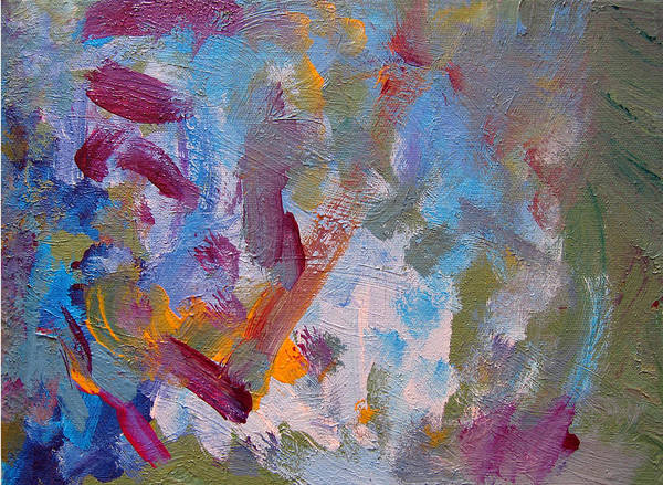 Abstract Art Print featuring the painting Just A Little Yellow by Kitty Hansen