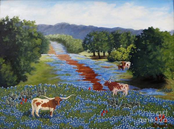 Longhorn Art Print featuring the painting Just Hangin' Out by Beverly Theriault