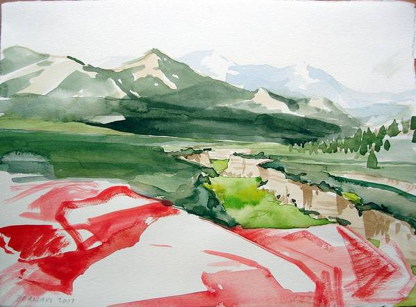 High Desert Landscape River Blue Mountains Outdoors Rural Wildlife Red Green Trees Rocks Nature Art Print featuring the painting Kennedy Meadows by Amy Bernays