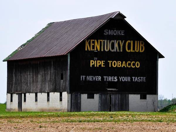 Barn Art Print featuring the digital art Kentucky Club Pipe Tobacco Barn by Robert Habermehl