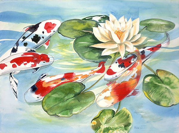 Nature Pond With Koi Art Print featuring the painting Koi In The Water Lilies by Ileana Carreno