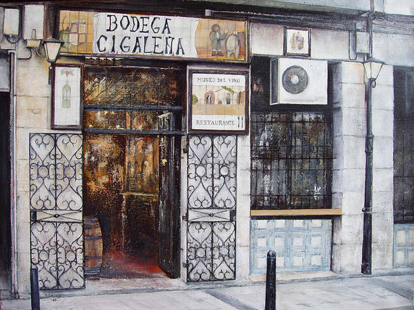 Bodega Art Print featuring the painting La Cigalena Old Restaurant by Tomas Castano