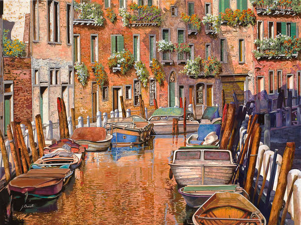 Venice Art Print featuring the painting La Curva Sul Canale by Guido Borelli