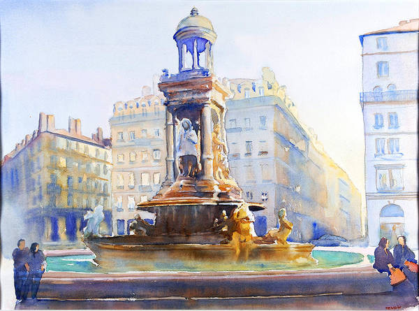 Europ Art Print featuring the painting La Fontaine Des Jacobins by Joel Tenzin
