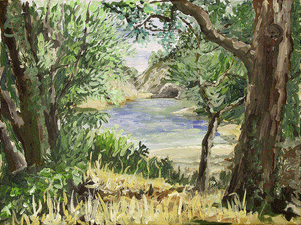 Lake Art Print featuring the painting Lake At St Remy by Gerold Kalter