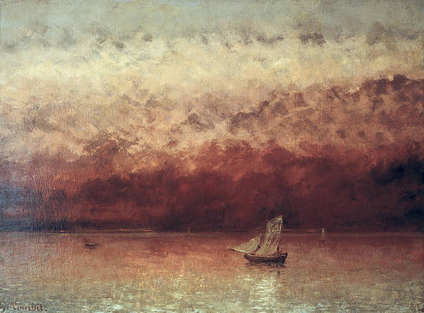Lake Art Print featuring the painting Lake Leman With Setting Sun by Gustave Courbet