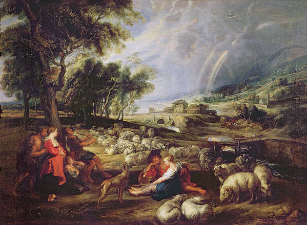 Landscape Print featuring the painting Landscape With A Rainbow by Rubens