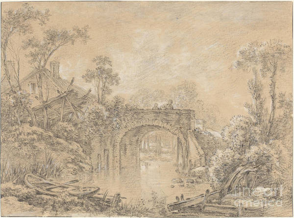 Art Print featuring the drawing Landscape With A Rustic Bridge by Fran?ois Boucher