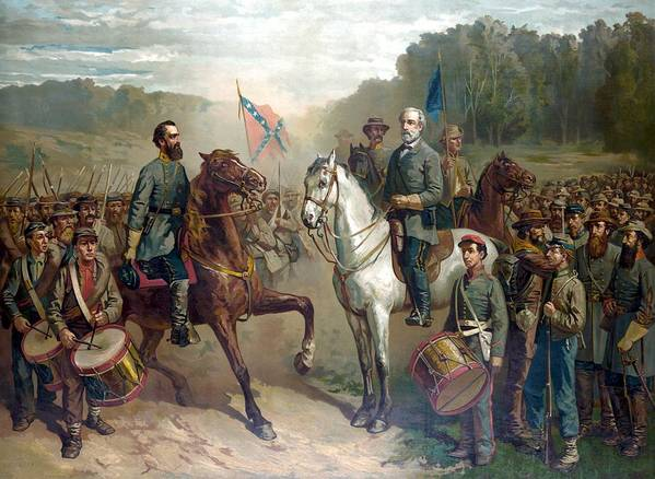 Robert E Lee Art Print featuring the painting Last Meeting Of Lee And Jackson by War Is Hell Store