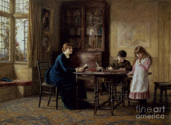 Governess; Inkwell; Quill Pen; Leaded Windows; Schoolroom; Classroom; Teacher; Book Case; Victorian; Lessons Art Print featuring the painting Lessons by Helen Allingham