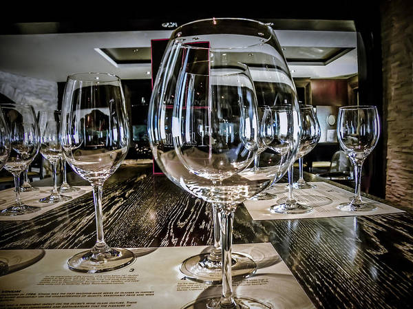 Wine Glasses Art Print featuring the photograph Let The Wine Tasting Begin by Julie Palencia