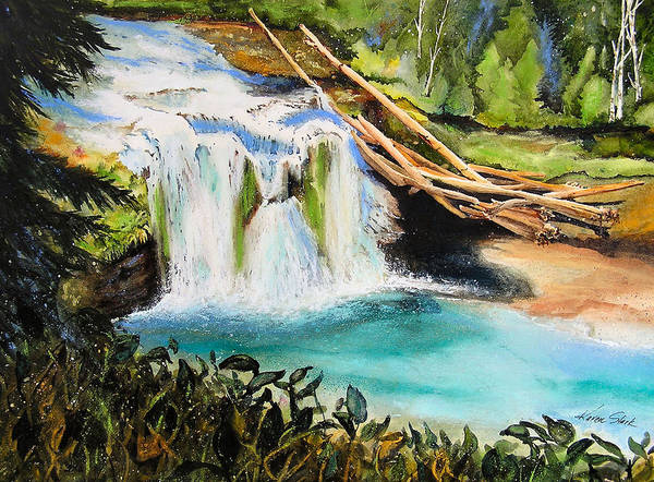 Water Art Print featuring the painting Lewis River Falls by Karen Stark