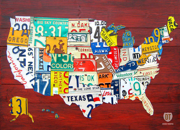 License Plate Map Art Print featuring the mixed media License Plate Map Of The United States - Midsize by Design Turnpike