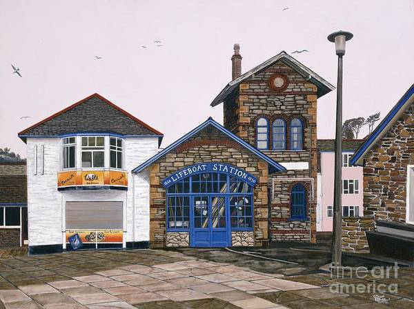 England Art Print featuring the painting Lifeboat Station by Jiji Lee