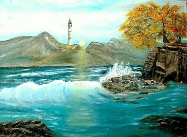 Lighthouse Ocean Painting Rocks Trees Art Print featuring the painting Lighthouse by Kenneth LePoidevin