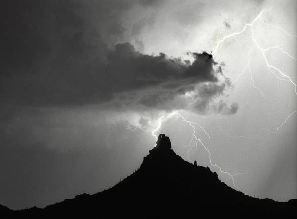 Pinnacle Peak Art Print featuring the photograph Lightning Striking Pinnacle Peak Arizona by James BO Insogna