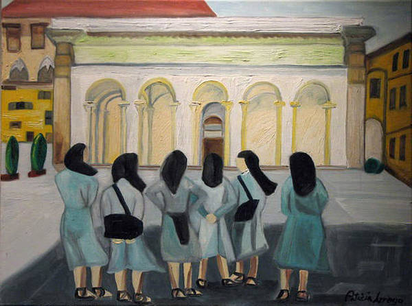 Europe Art Print featuring the painting Lil Nuns Of Florence 2004 by Patricia Arroyo