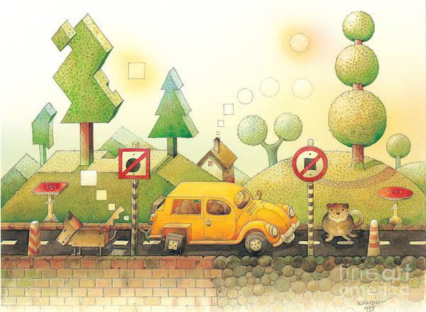 Car Dog Cat Tree Sun Landscape Green Yellow Art Print featuring the painting Lisas Journey02 by Kestutis Kasparavicius