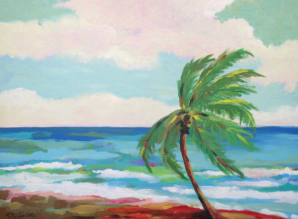 Palm Tree Art Print featuring the painting Lone Palm On The Beach by Karen Fields