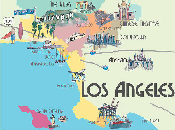 graphic relating to Printable Map of Los Angeles titled Los Angeles California - Map Of Superior L.a. With Highlights Artwork Print