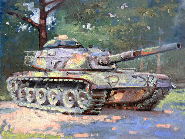 Landscape Art Print featuring the painting M60 A3 Desert Storm Tank- Plein Air by Larry Seiler