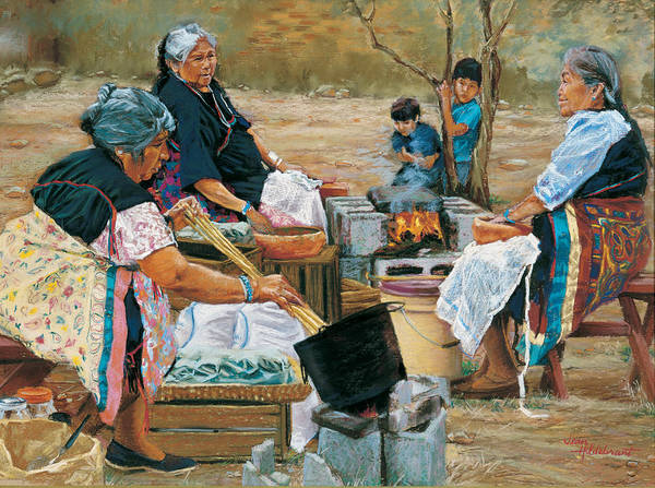 Native American Art Print featuring the painting Making Piki Bread by Jean Hildebrant