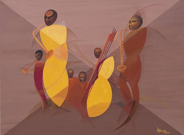 Mango Jazz Art Print featuring the painting Mango Jazz by Kaaria Mucherera