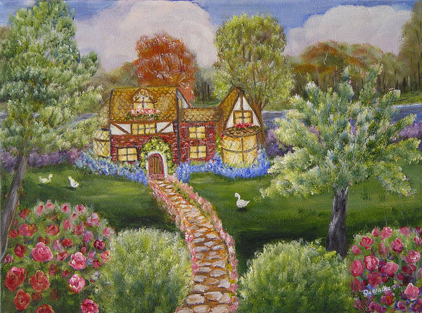 Landscape Art Print featuring the painting Manor Of Yore by Quwatha Valentine