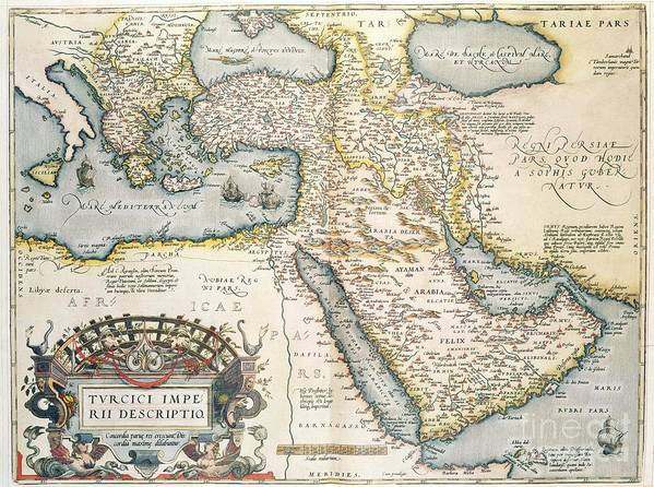 Map Print featuring the drawing Map Of The Middle East From The Sixteenth Century by Abraham Ortelius