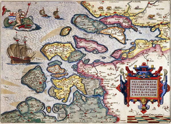 Map Art Print featuring the painting Map Of Zeeland by Abraham Ortelius